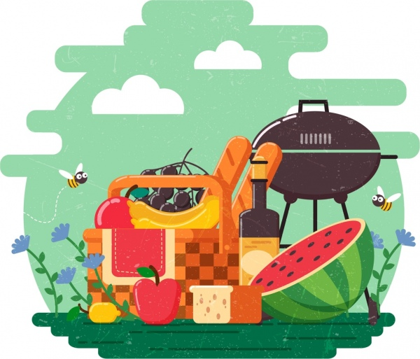picnic design elements fresh fruits wine barbecue icons