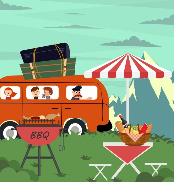 picnic drawing bus trip barbecue outdoor food icons