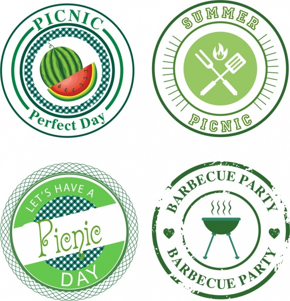 picnic labels collection classical flat circles isolation