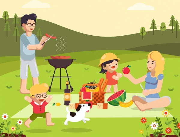 picnic painting joyful family food barbecue icons decor