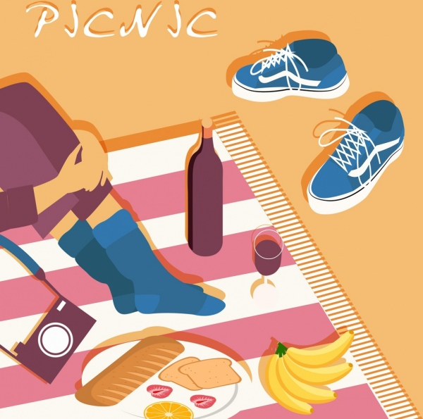 picnic poster food tablecloth relaxed human icons