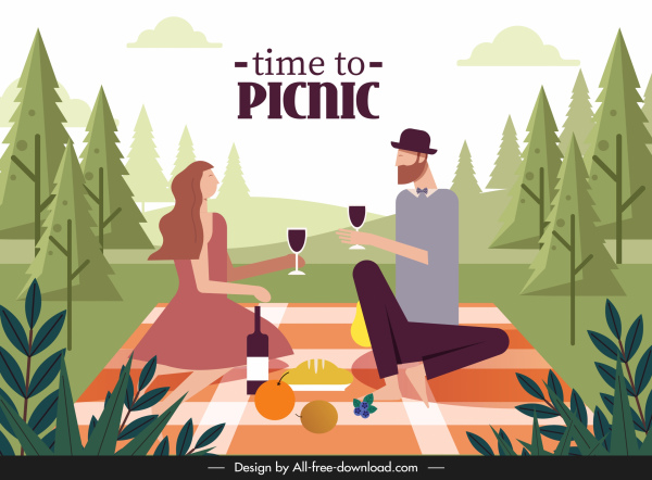 picnic time banner colored cartoon characters sketch
