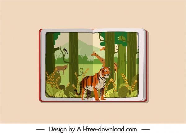 picture book icon jungle animals theme sketch