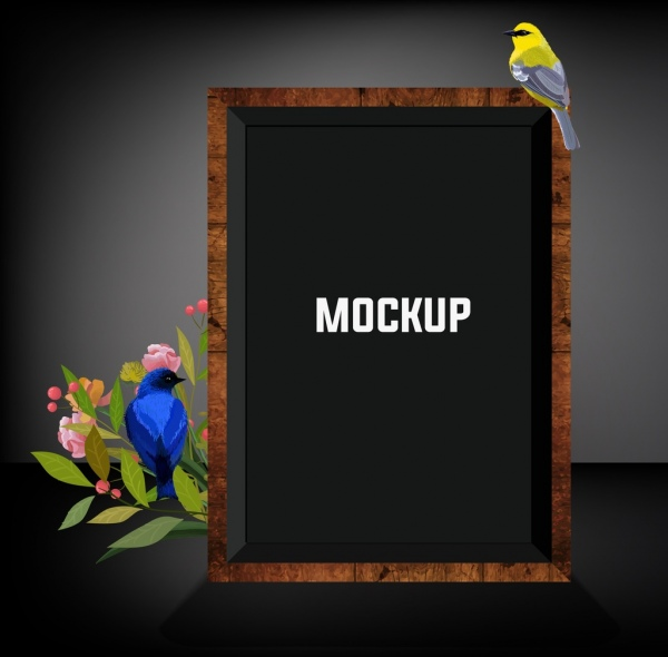 picture frame template birds mockup decor multicolored design