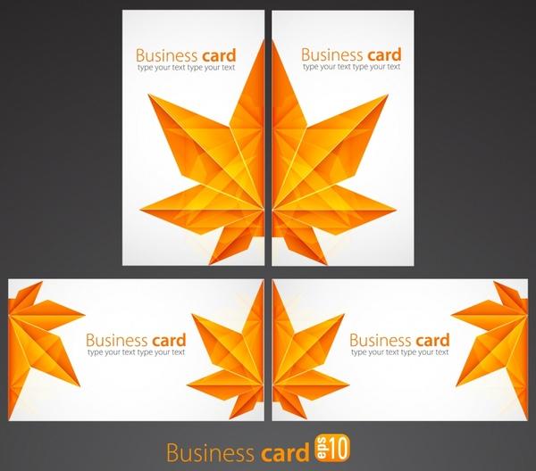 business card cover templates elegant leaf shape decor