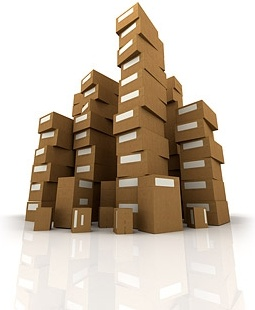 piled cardboard boxes picture