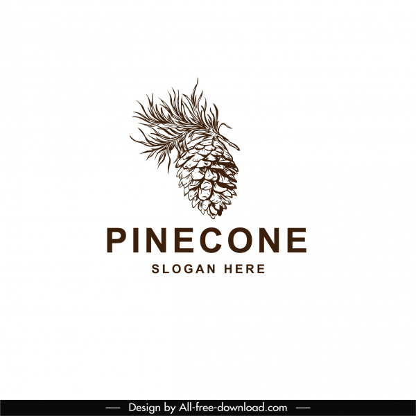 pine cone logo template classical handdrawn sketch