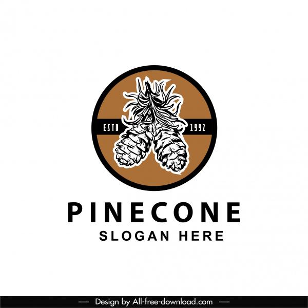 pine cone logo template elegant classical handdrawn design
