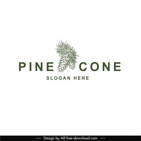 pine cone logo template elegant classical horizontal design