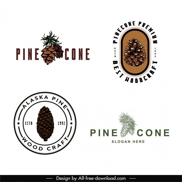 pine cone logo templates elegant retro shapes