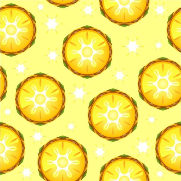 pineapple background yellow slices icons repeating flat design