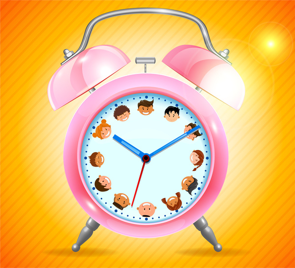 pink alarm clock realistic illustration