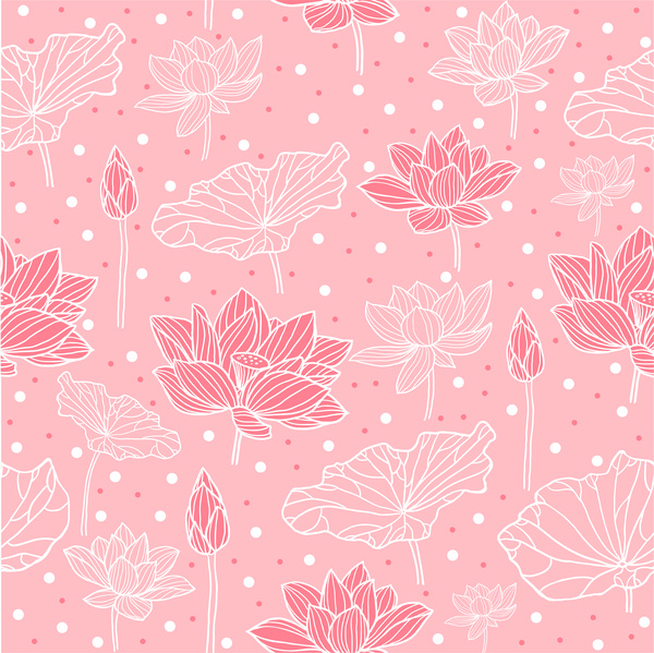Pink Background Design With Lotus Flowers Free Vector In Adobe Illustrator Ai Ai Vector