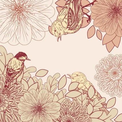 pink birdie pattern background graphics vector