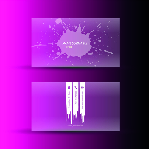 pink business cards template design vector