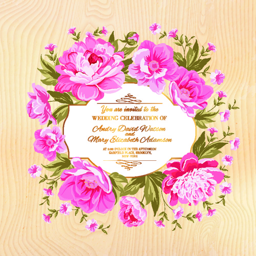 Pink Flower Frame Wedding Invitation Cards Free Vector In