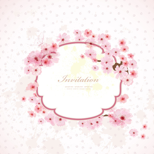 Pink flower frame wedding invitation cards vector Free vector in ...