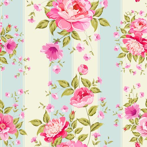 pink flower seamless pattern beautiful vector