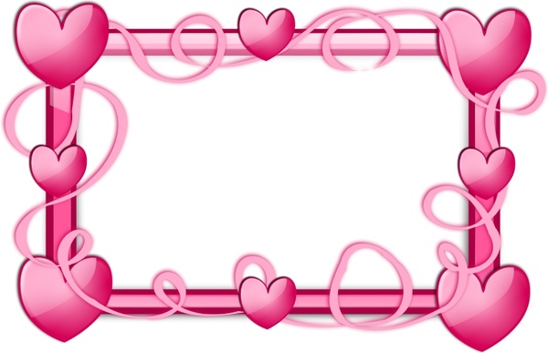 Pink Hearts Frame Free vector in Open office drawing svg ( .svg ...
