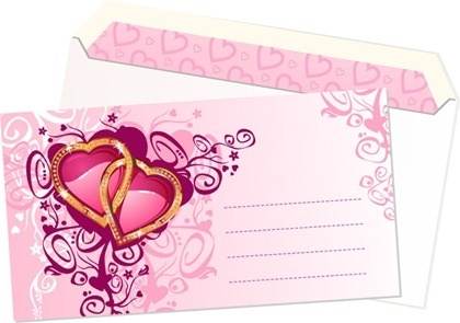 wedding invitation card template heart rings decoration