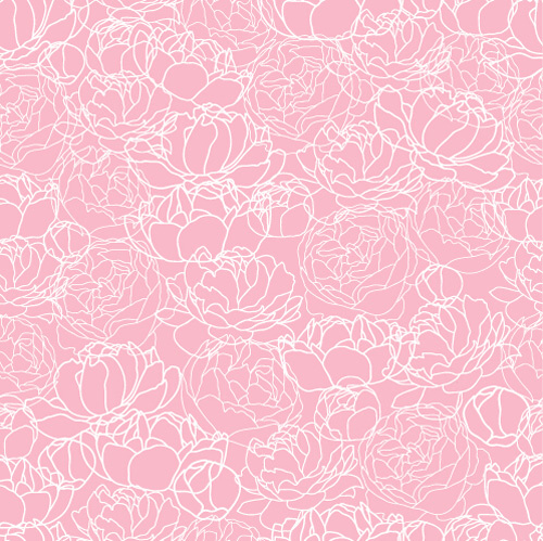 pink peonies seamless pattern hand drawing vector