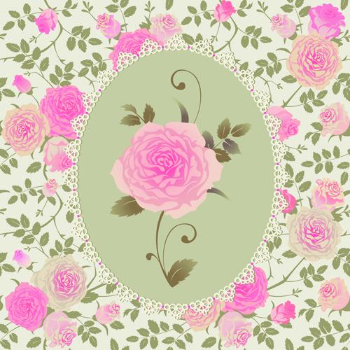 pink rose pattern background vector