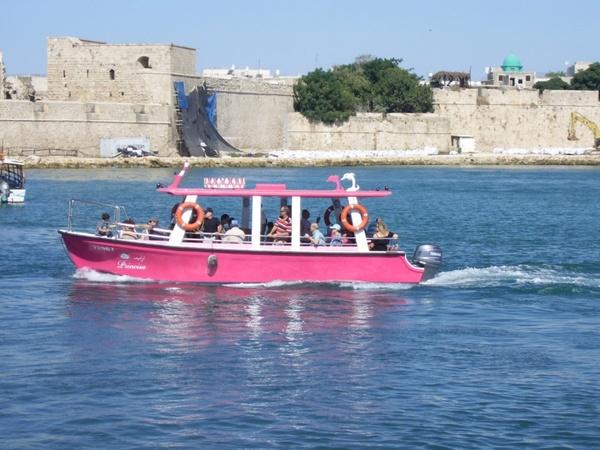 pink tourist boat