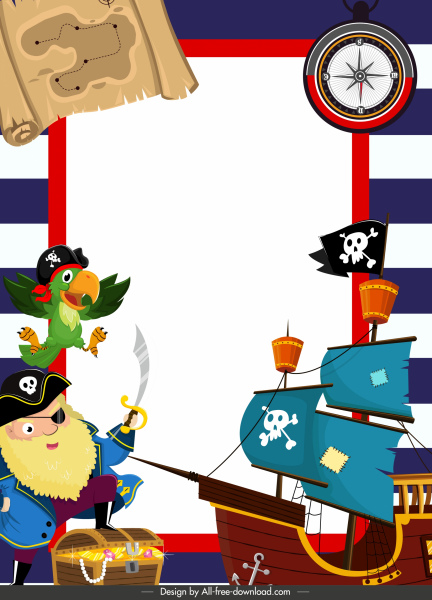 pirate background template colorful cartoon elements decor