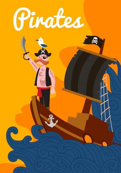 pirate drawing tattoo man sailboat waves colored cartoon