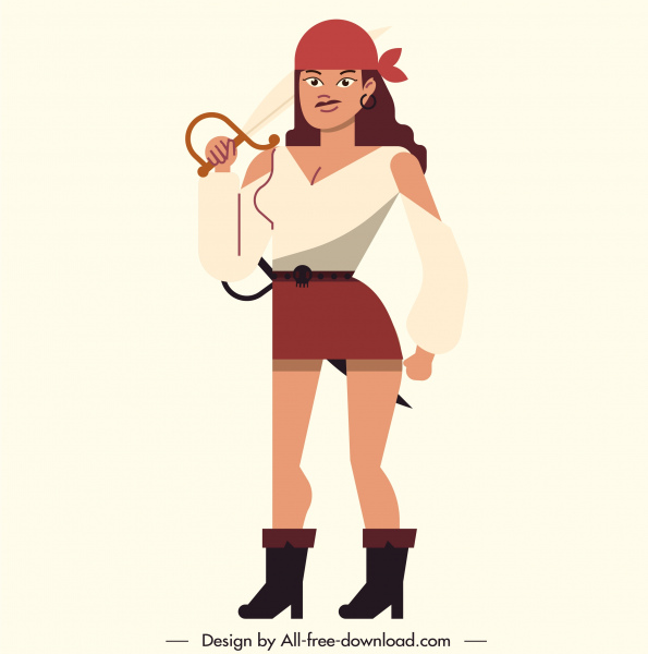 pirate icon attractive lady sketch colored cartoon character