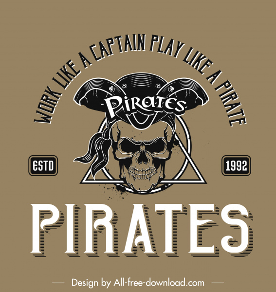 pirate logo templateclassical horror skull wording texts