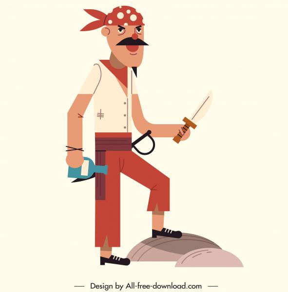 pirate sailor icon funny man sketch classical design