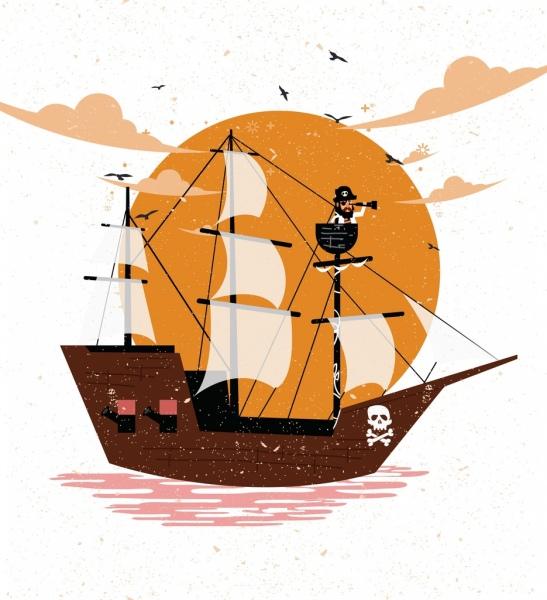 pirate ship drawing colored retro design