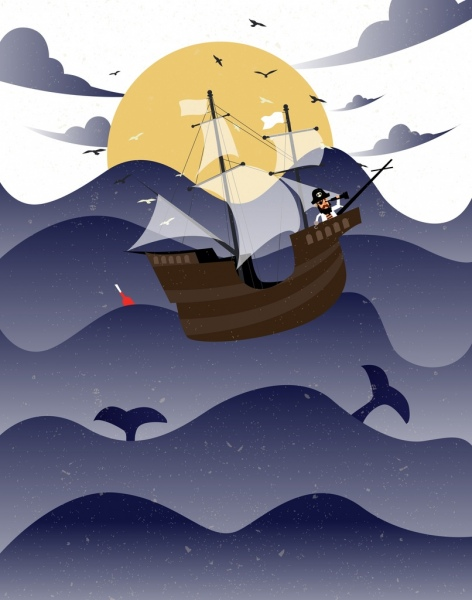 pirate ship drawing wavy beach whales seabirds icons