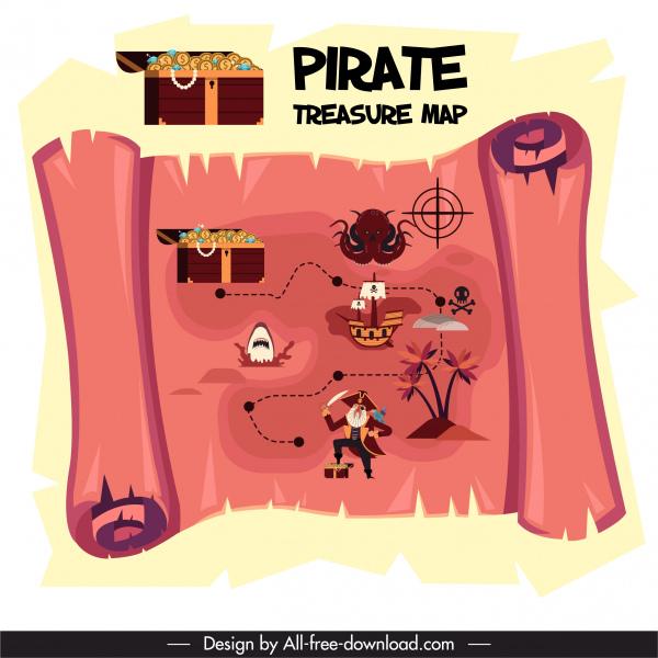 pirate treasure map background vintage parchment sketch