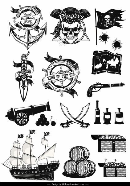 pirates design elements black white retro symbols sketch
