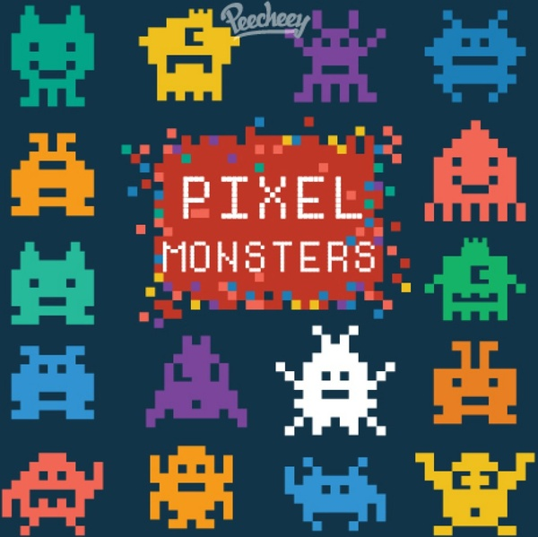 pixel monster set free vector in adobe illustrator ai ai vector