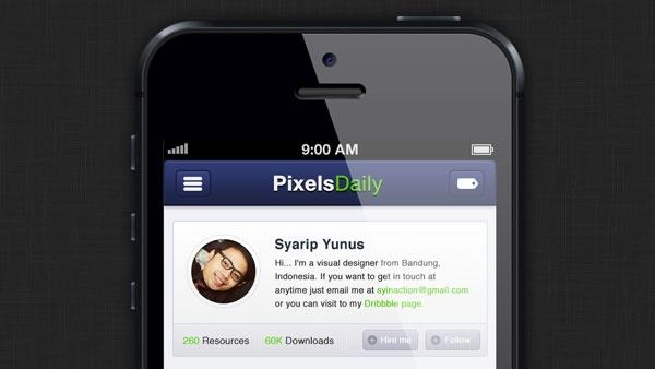 PixelsDaily iPhone App Interface PSD & CSS