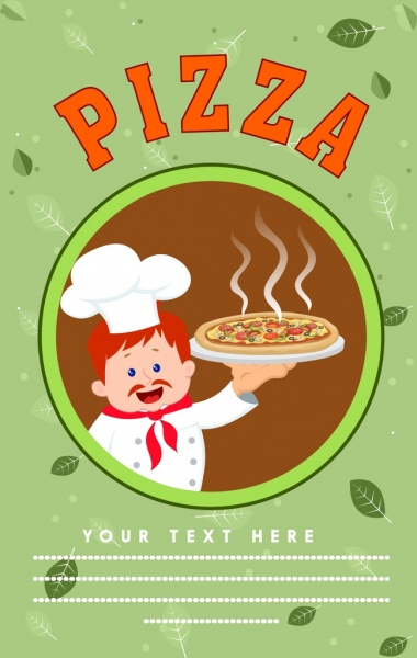 pizza advertisement cook food icons leaves decoration