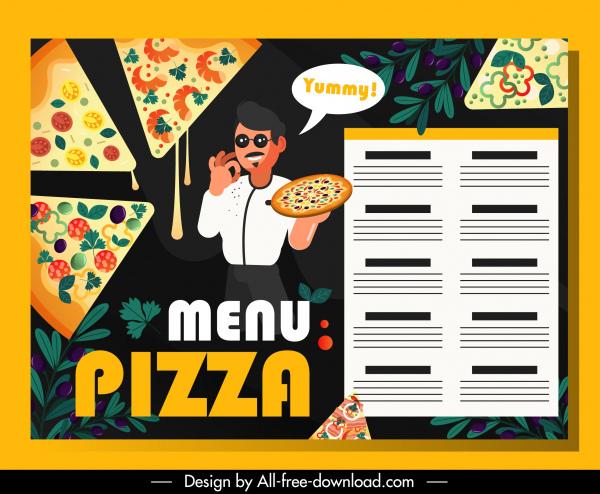pizza menu template pie cook decor dark design