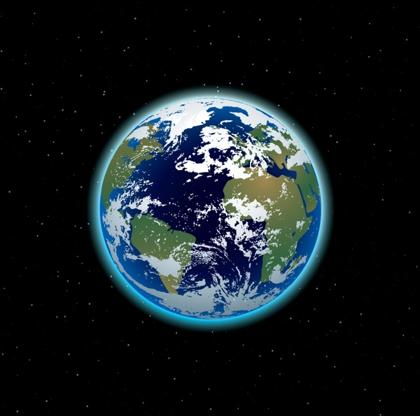 universe painting earth icon colored realistic design