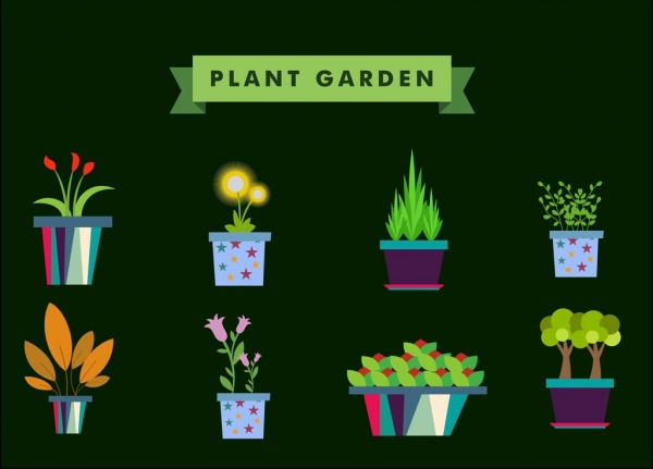 plant garden design elements various flowers vase icons