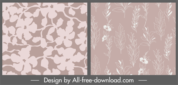 plant pattern flat retro handdrawn flowers sketch