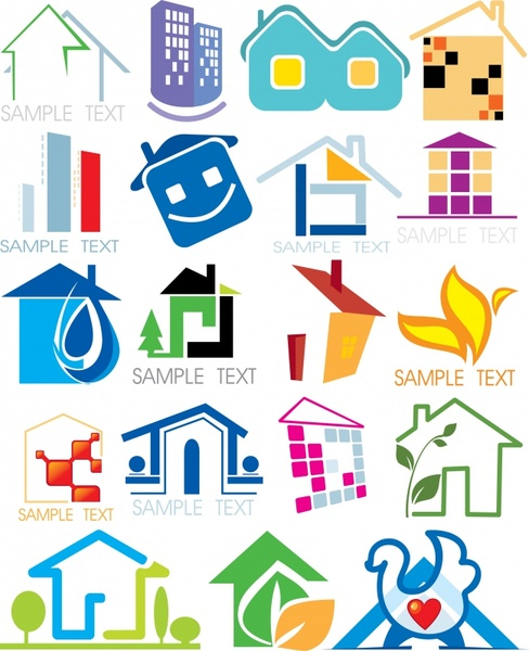 real estate logo templates colored flat houses sketch