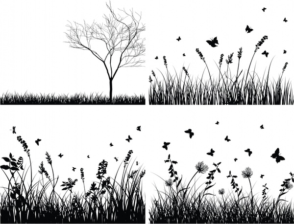 nature paintings classical black white tree grass flower