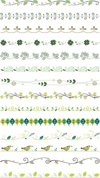 border design elements nature themes leaf bird icons