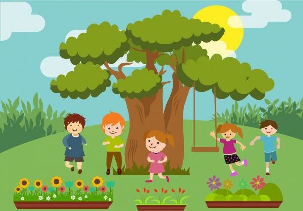 playful children theme colorful cartoon design style