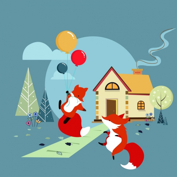 playful foxes background colored cartoon design