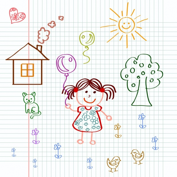 Playful little girl drawing colored handdrawn draft Free