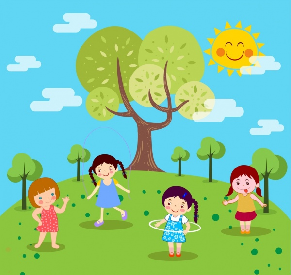 playground drawing playful girls icons colored cartoon design